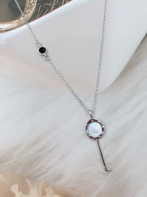 KEVIN 925 Sterling Silver Shell Key Dainty Initials Necklace
