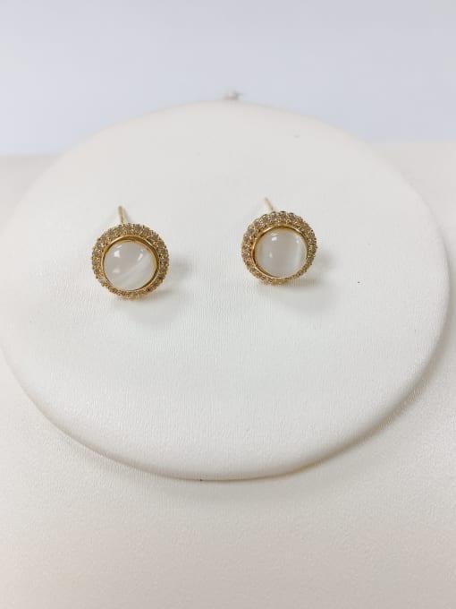 KEVIN Brass Cats Eye Cone Dainty Stud Earring