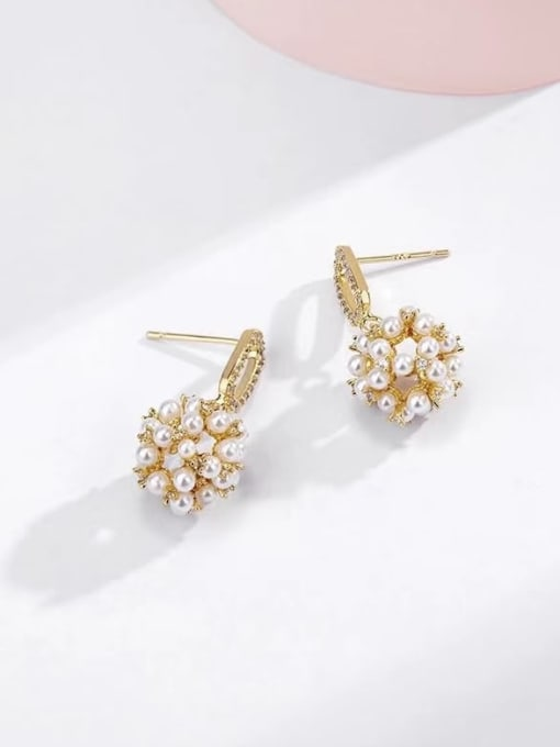 KEVIN Brass Imitation Pearl Cone Trend Drop Earring 1