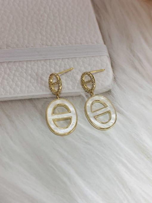 KEVIN Brass Cubic Zirconia Acrylic Oval Trend Drop Earring
