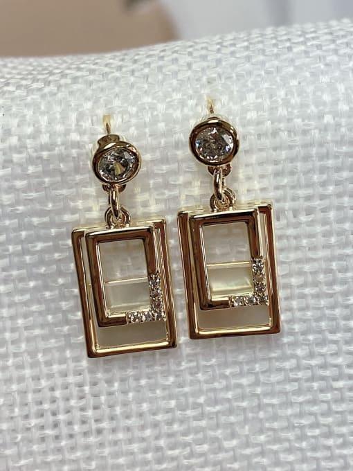 KEVIN Brass Shell Rectangle Trend Drop Earring 0