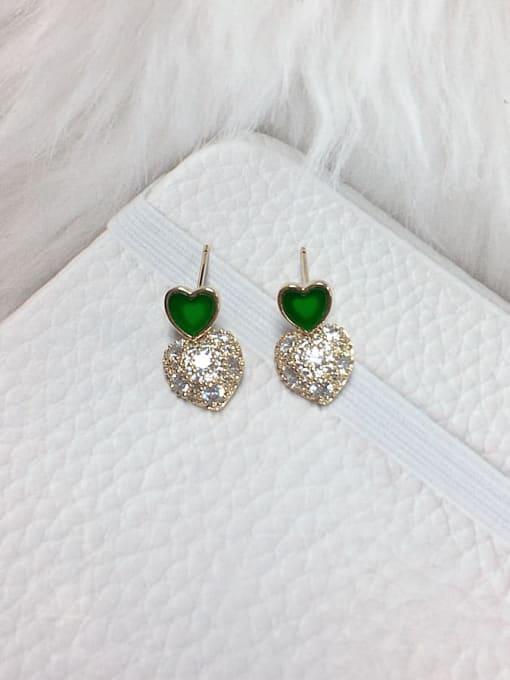 Green Brass Cubic Zirconia Acrylic Heart Dainty Stud Earring
