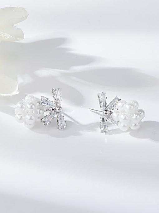 Platinum Brass Cubic Zirconia Bowknot Dainty Drop Earring