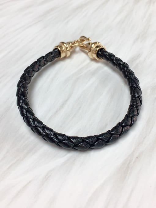 HE-IN Stainless steel Leather Irregular Trend Bracelet