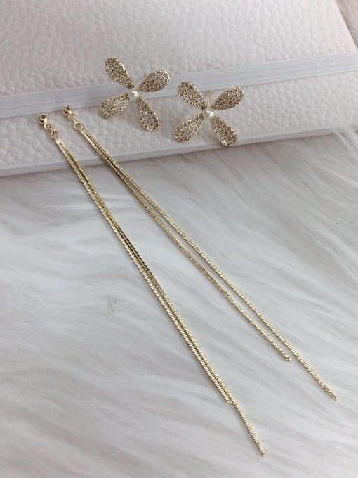 KEVIN Brass Cubic Zirconia Tassel Statement Threader Earring 1