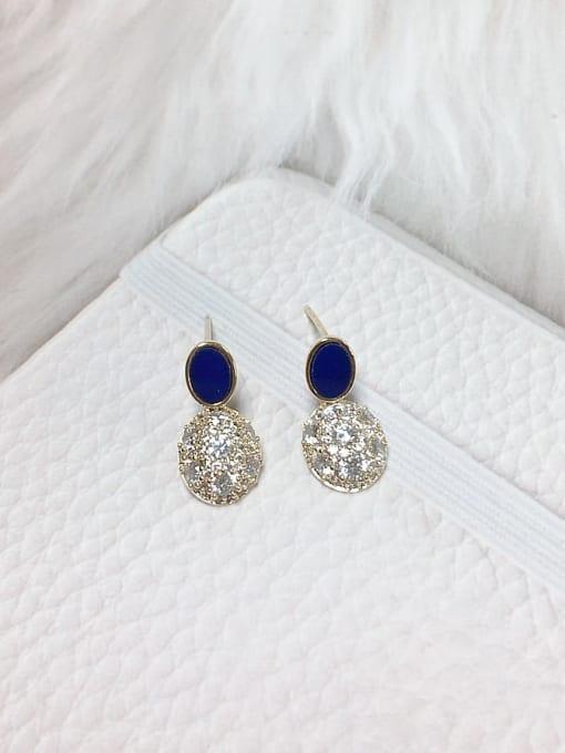 Blue Brass Cubic Zirconia Acrylic Oval Dainty Stud Earring