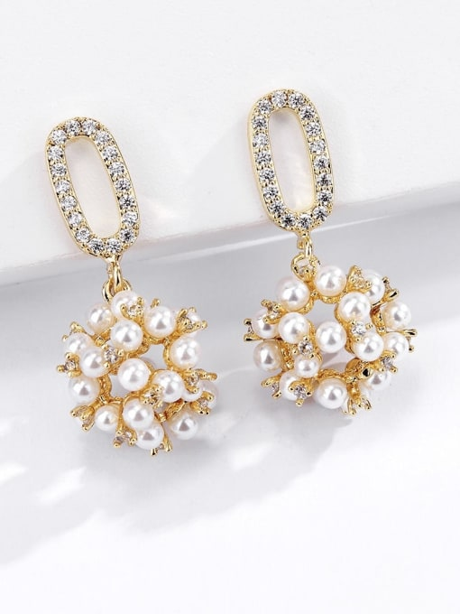KEVIN Brass Imitation Pearl Cone Trend Drop Earring