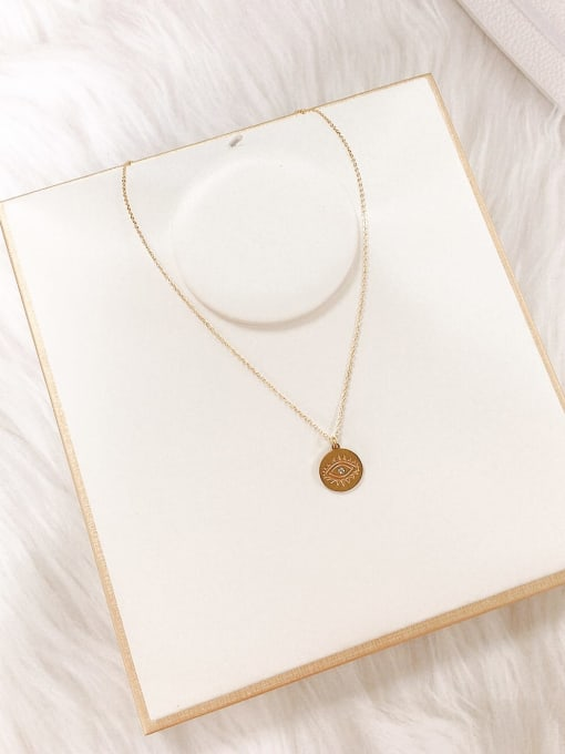 KEVIN Stainless steel Rhinestone Evil Eye Dainty Initials Necklace 1
