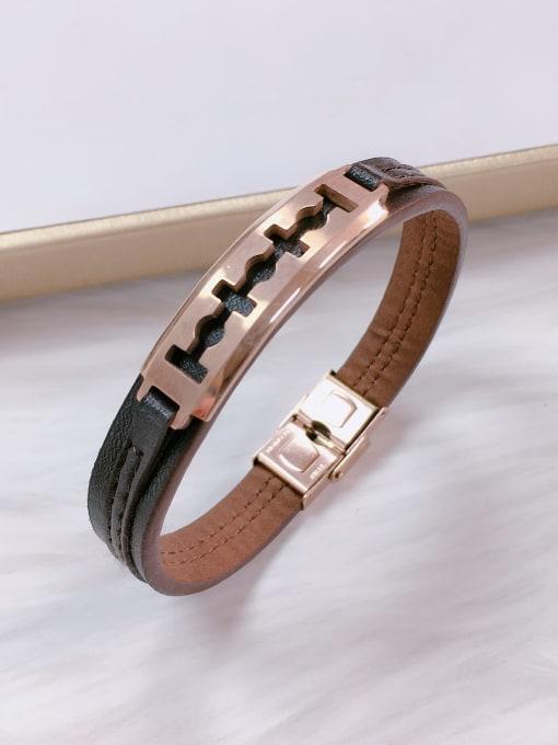 Rose Stainless steel Leather Irregular Trend Bracelet