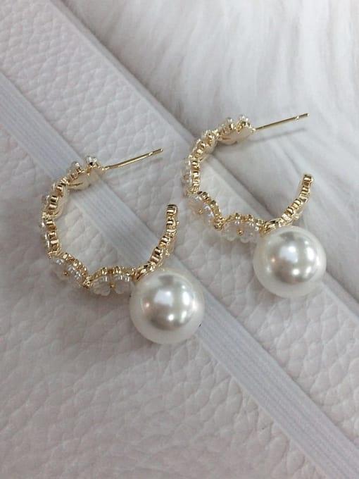 KEVIN Brass Imitation Pearl Cone Trend Hoop Earring