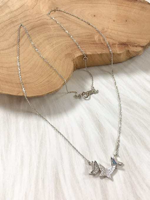 KEVIN 925 Sterling Silver Cubic Zirconia Butterfly Dainty Initials Necklace