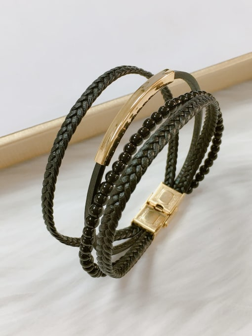 HE-IN Stainless steel Bead Leather Irregular Trend Bracelet 1
