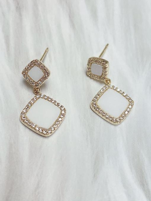 White Brass Cubic Zirconia Acrylic Square Classic Drop Earring