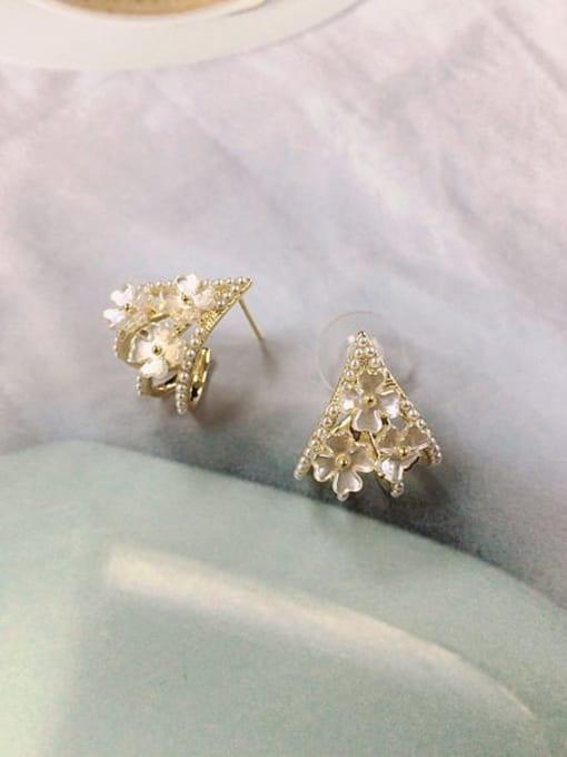 KEVIN Brass Imitation Pearl Irregular Dainty Stud Earring