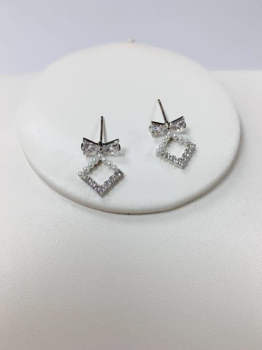 KEVIN Brass Cubic Zirconia Irregular Minimalist Stud Earring 0