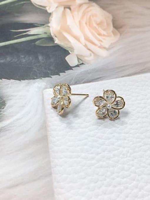 Gold Brass Cubic Zirconia Flower Minimalist Stud Earring