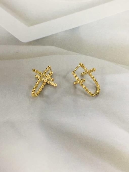 KEVIN Brass Cross Minimalist Huggie Earring 1