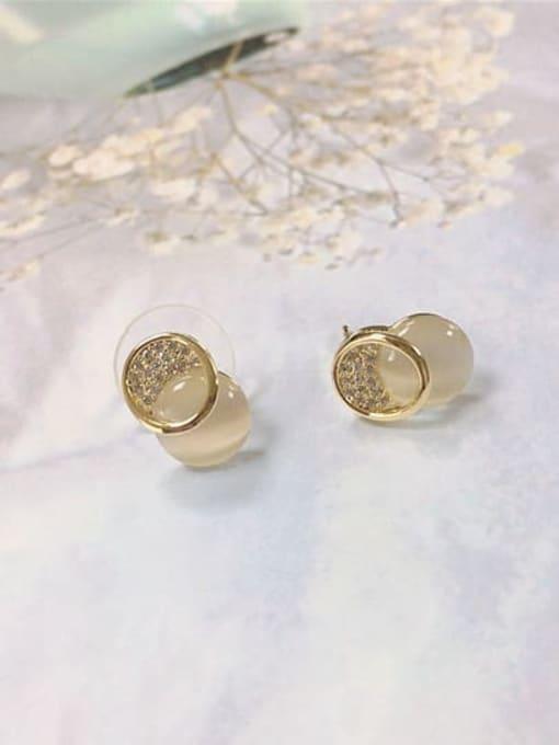 KEVIN Brass Cats Eye Irregular Dainty Stud Earring 0