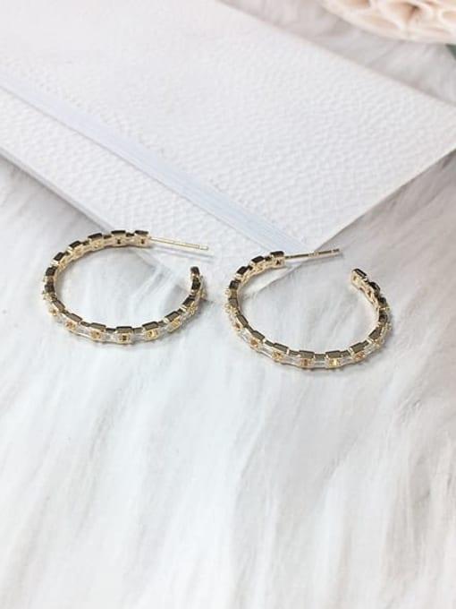 KEVIN Brass Cubic Zirconia Round Trend Hoop Earring 0