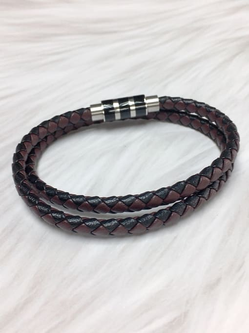 HE-IN Stainless steel Leather Round Trend Bracelet 1