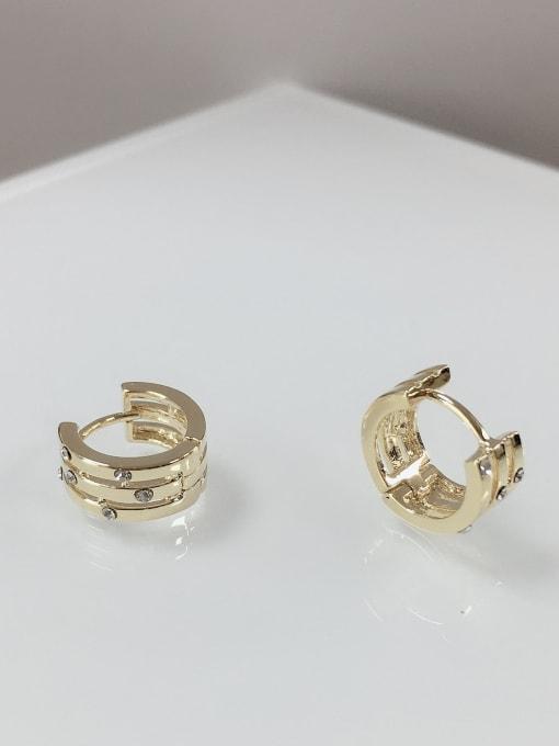KEVIN Zinc Alloy Rhinestone Irregular Dainty Huggie Earring