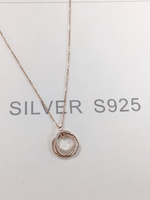 KEVIN 925 Sterling Silver Cubic Zirconia Round Dainty Initials Necklace