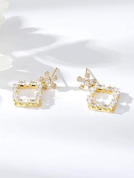 Gold Brass Cubic Zirconia Irregular Trend Drop Earring