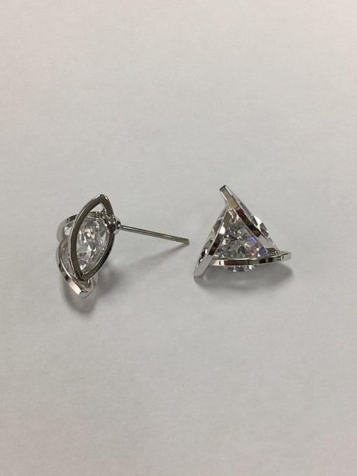 KEVIN Brass Cubic Zirconia Triangle Dainty Stud Earring 0