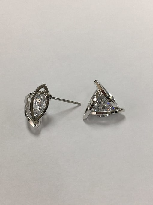 KEVIN Brass Cubic Zirconia Triangle Dainty Stud Earring