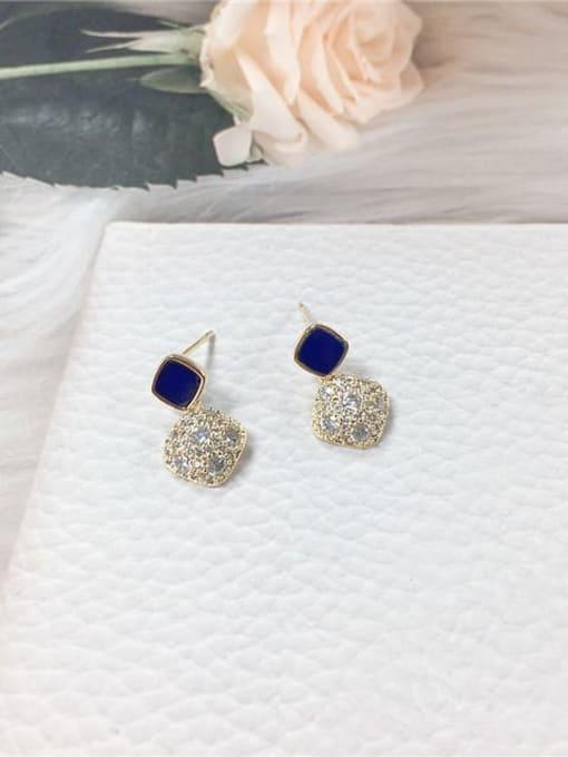 Blue Brass Cubic Zirconia Acrylic Irregular Dainty Stud Earring