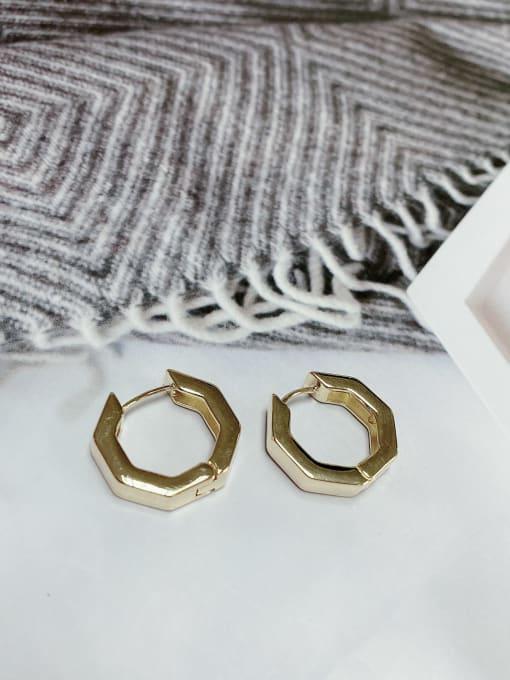 Gold Zinc Alloy Hexagon Classic Huggie Earring