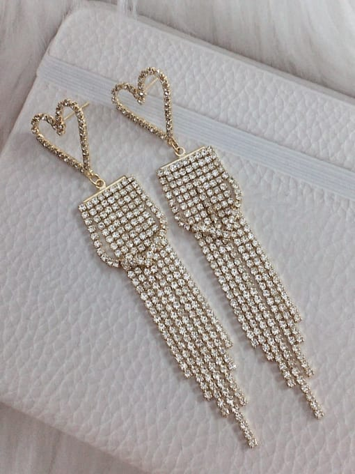 KEVIN Zinc Alloy Rhinestone Tassel Statement Drop Earring 0
