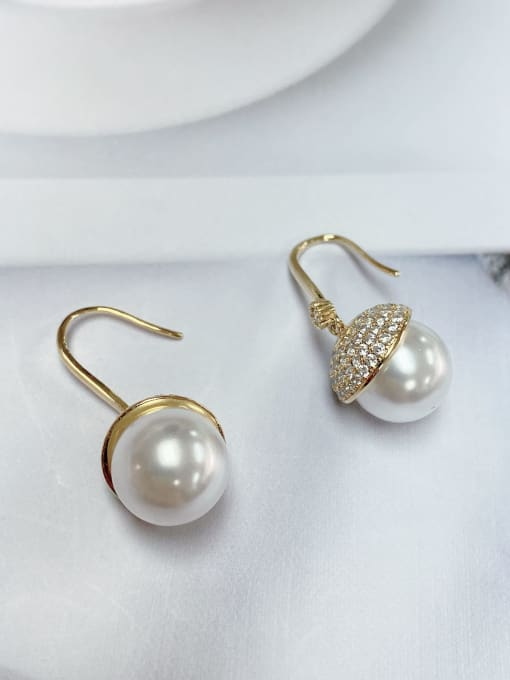 KEVIN Brass Imitation Pearl Round Classic Hook Earring 1
