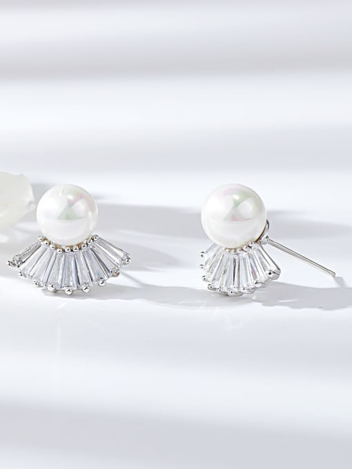 KEVIN Brass Imitation Pearl Irregular Trend Stud Earring 0