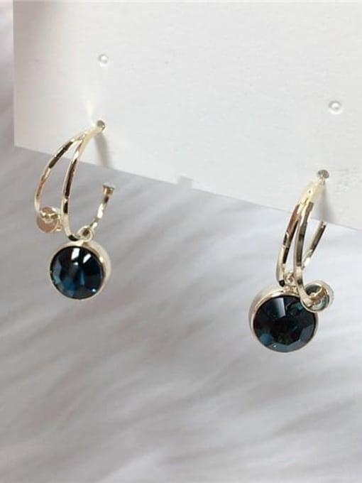 KEVIN Zinc Alloy Rhinestone Irregular Trend Hook Earring 1