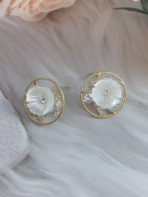 KEVIN Brass Cubic Zirconia Round Trend Stud Earring 1