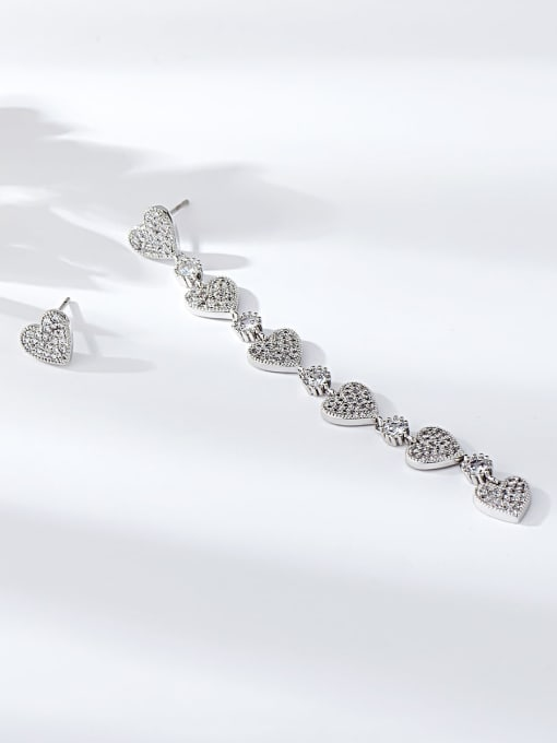 KEVIN Brass Cubic Zirconia Heart Minimalist Drop Earring 1