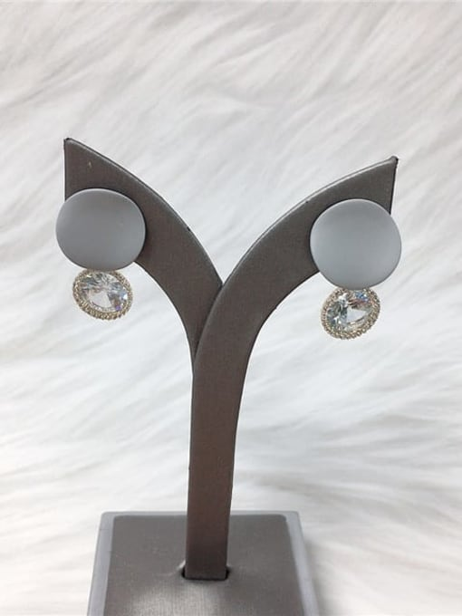 Gray Zinc Alloy Cubic Zirconia Enamel Water Drop Trend Drop Earring