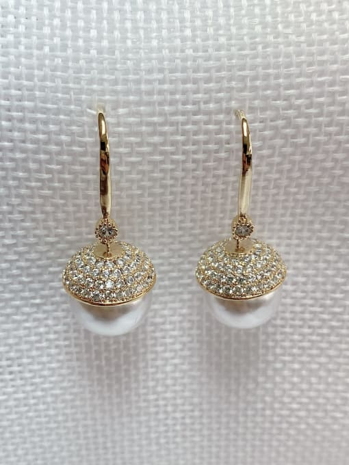 KEVIN Brass Imitation Pearl Round Classic Hook Earring