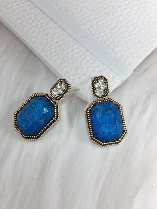 KEVIN Zinc Alloy Glass Stone Rectangle Trend Drop Earring 1