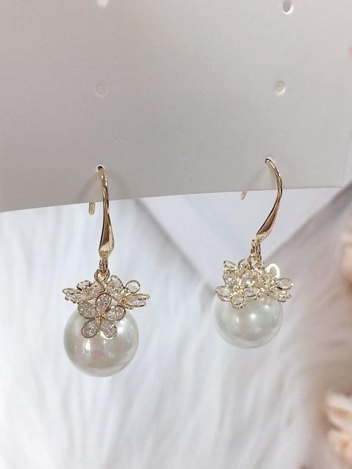 KEVIN Zinc Alloy Imitation Pearl Flower Trend Drop Earring 0