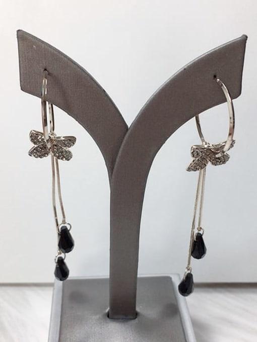 KEVIN Zinc Alloy Crystal Tassel Trend Threader Earring 0