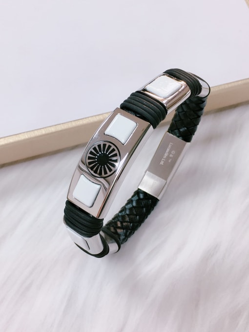 HE-IN Stainless steel Porcelain Leather Irregular Trend Bracelet 0