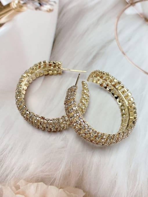 KEVIN Brass Rhinestone Round Classic Hoop Earring