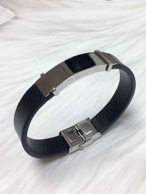 Silver Stainless steel Leather Rectangle Trend Bracelet