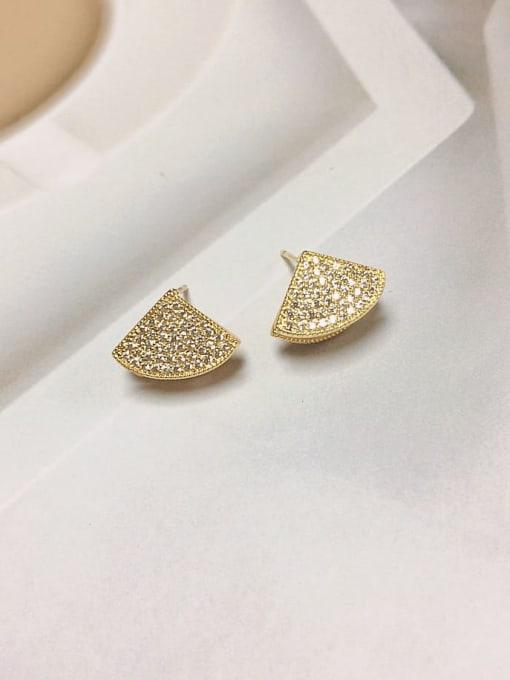 KEVIN Brass Shell Geometric Trend Stud Earring