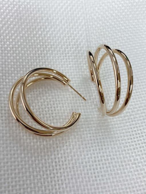 Gold Zinc Alloy Cone Classic Hoop Earring