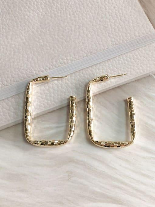 Gold Brass Rectangle Trend Drop Earring