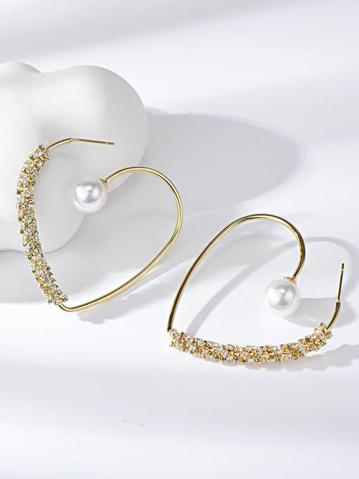 KEVIN Brass Rhinestone Heart Trend Drop Earring