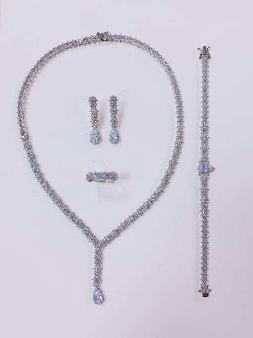 KEVIN Statement Irregular Brass Cubic Zirconia Ring Earring Bangle And Necklace Set 0